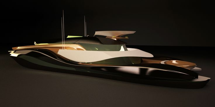 50m Trimaran yacht, concept Development,  3D render