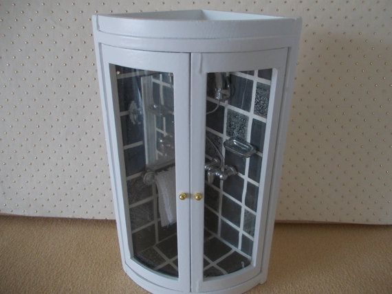 Dolls house Shower unit  in white and Black by SmallthingsbyAmanda