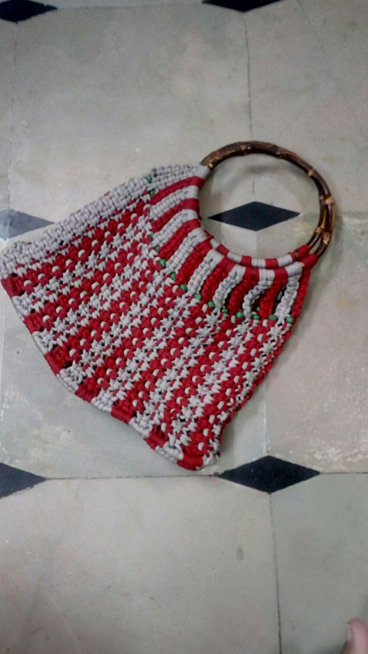 Red and grey shopping bag