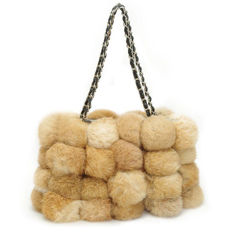 Rabbit bag Luxurious fur chain shoulder bag small square package 48 balls bag new winter fashion handbags Free Shippingкупить в магазине REDITALYнаAliExpress