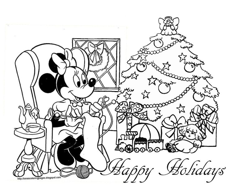 Xmas Disney Minnie Mouse Coloring 1600x1307