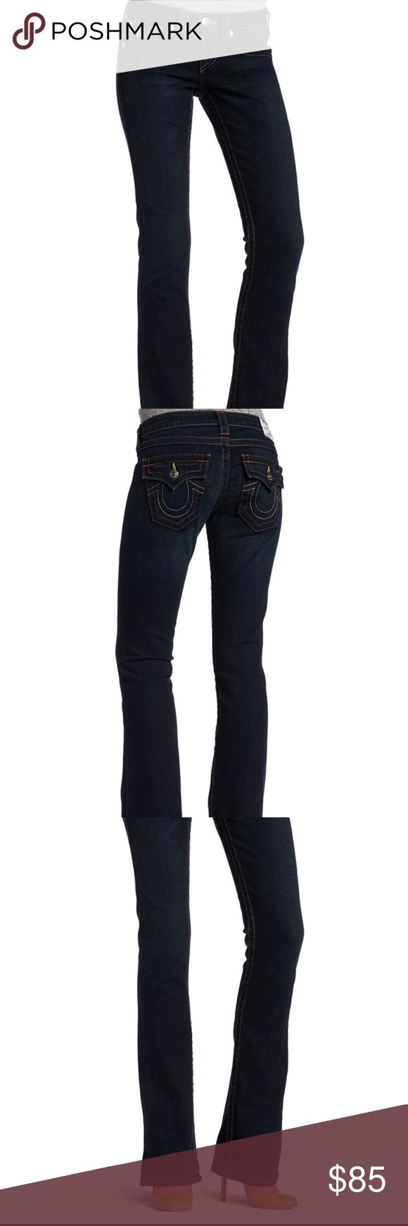 """TRUE RELIGION BECKY EAD-VERA CRUZ Dark Wash JEANS GUARANTEED 100% authentic LIKE NEW FLAWLESS TRUE RELIGION BECKY DARK WASH EAD-VERA CRUZ Flattering Bootcut JEAN. Size 24 with stretch. Contrast bright ORANGE stitching really makes this version stand out! Measurements: waist 14"""" across flat, Rise 7"""" in front, Inseam 35"""". True Religion Jeans Boot Cut"""