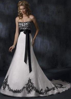 A-Line Sweetheart Court Train Satin & Organza Luxury Wedding Dress   USD$145.20: Black Lace, Ideas, Wedding Dressses, White Wedding Dresses, Black And White, Gowns, Black White, White Dress, White Weddings