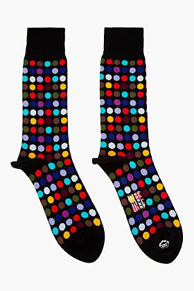 Paul Smith Black Multicolor Polka Dot Socks for men | SSENSE