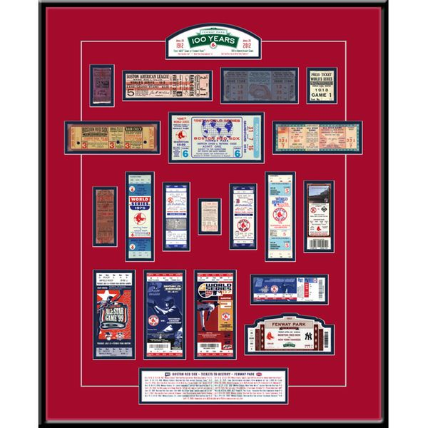 "Boston Red Sox 22"" x 18"" x 3/4"" Fenway Park 100th Anniversary Tickets To History Framed Print - $59.99"