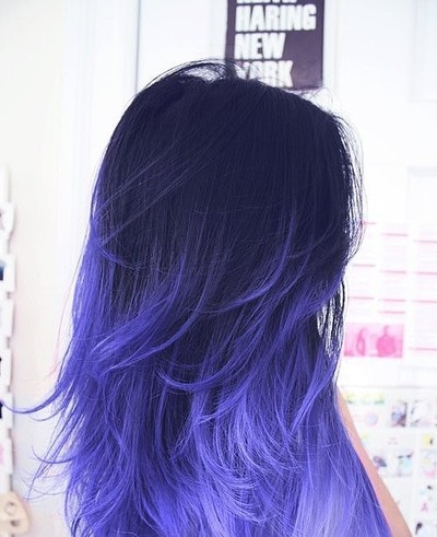 dip-dye-hair blue