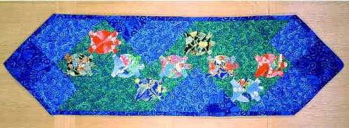 Pieced Turtle Quilt Pattern | hawaiian turtles table runner brightly colored turtles swim along your