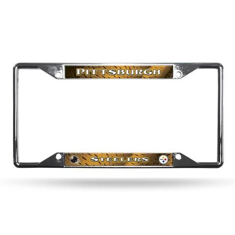 Pittsburgh Steelers License Plate Frame Chrome EZ View #PittsburghSteelers