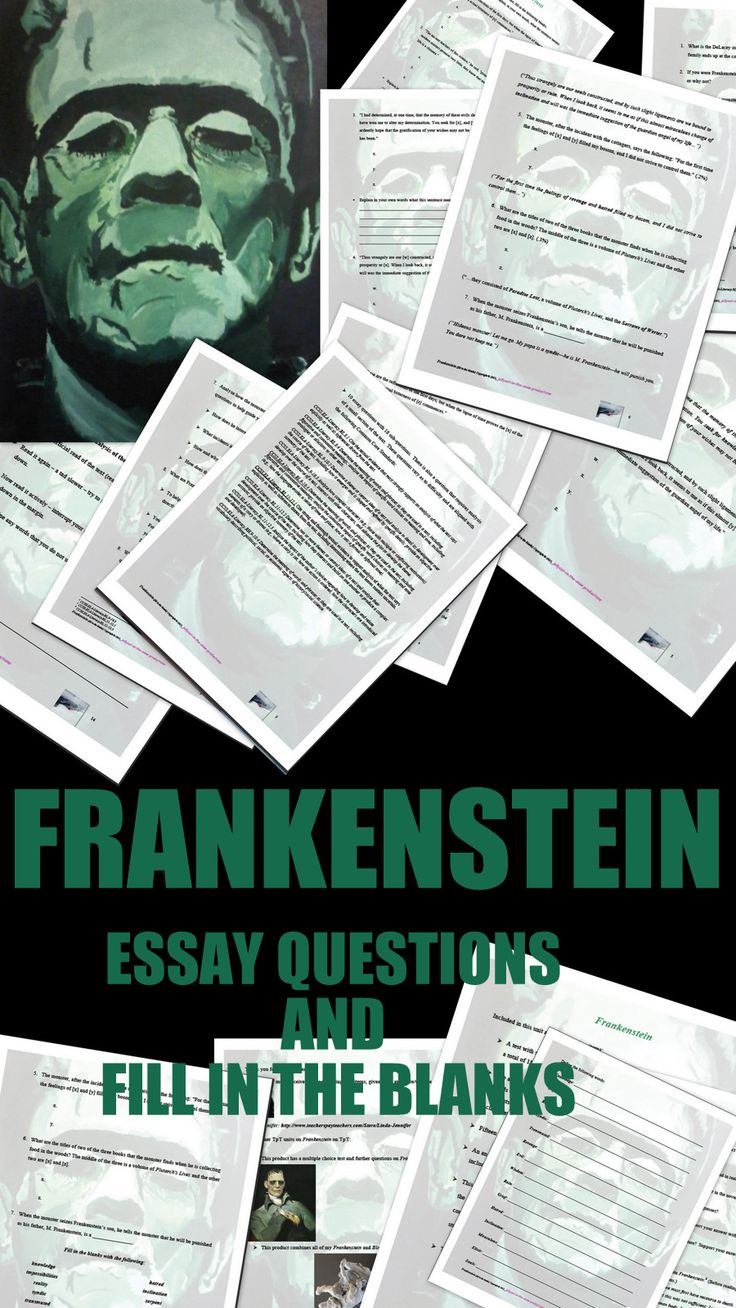 FRANKENSTEIN Included here: *A test with 7 fill in the blank questions (a total of 18 words need to be placed in the appropriate spaces). *The answers appear in a word jumble at the end of the test. *An answer key for the test. Here the passages containing the missing words in bold included at the end of each question. *Vocabulary *10 essay questions with 18 sub-questions. Some are aligned with the following CCSS: (RL. 9-10.2, 3, and 4, ); (RL. 11-12.1, 2, and 3) $