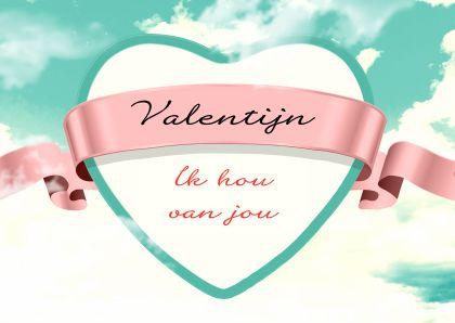 ♥Kaartje2go - Valentijnskaarten - Vintage hart met roze lint in de wolken