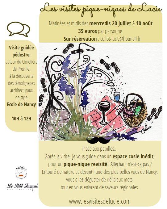 Les visites pique-niques de Lucie à Nancy, deux dates inédites pour cet été, uniquement sur réservation ! Ecole de Nancy - art nouveau - visites gudiées - les visites de lucie - tourisme - visiter - découvrir - nancy - patrimoine - architectures - art - pique-nique