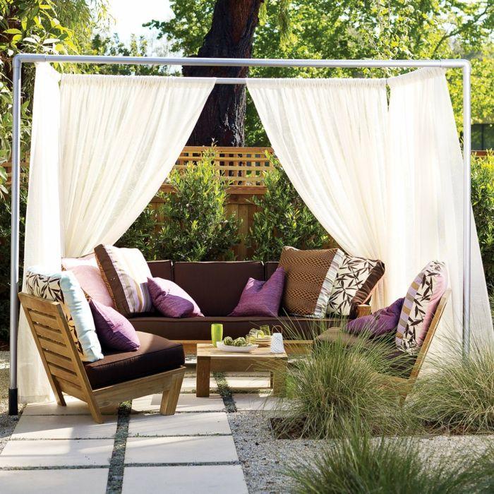33 ideen für den garten mit gardinen die erholungsecke im