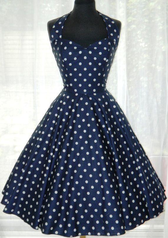 Vintage/50s/Rockabilly Style Halter Dress by BadlyBahavedBetty, £80.00