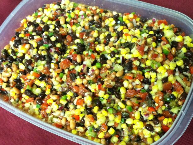 Have fun with this dish. This is a great dish to experiment with, you can add or subtract ingredients to fit your personal taste. I have added black-eyed pea relish, jalapeAndntilde;os, and even pear relish on occasions, depending on my mood and what I had on hand. This is a fun dish and people of all ages love it.