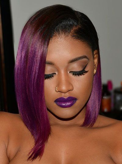 Full Lace Wigs|Lace Front Wigs|Lace Wigs @ RPGSHOW Hairstylist Anthony Fancy Purple Bob - AnthonyCuts005 [AnthonyCuts005] - Real product photo info: hair color: #2/Purple hair length: left 10 inches, right 13 inches