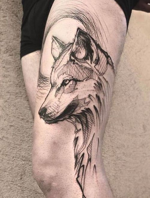 Wolf Tattoo Design, Tattoo Design Drawings, Wolf Tattoos Men, Tribal Tattoos, Leg Tattoos, Tatoos, Tattoo Designs For Women, Designs To Draw, Elsa Frozen