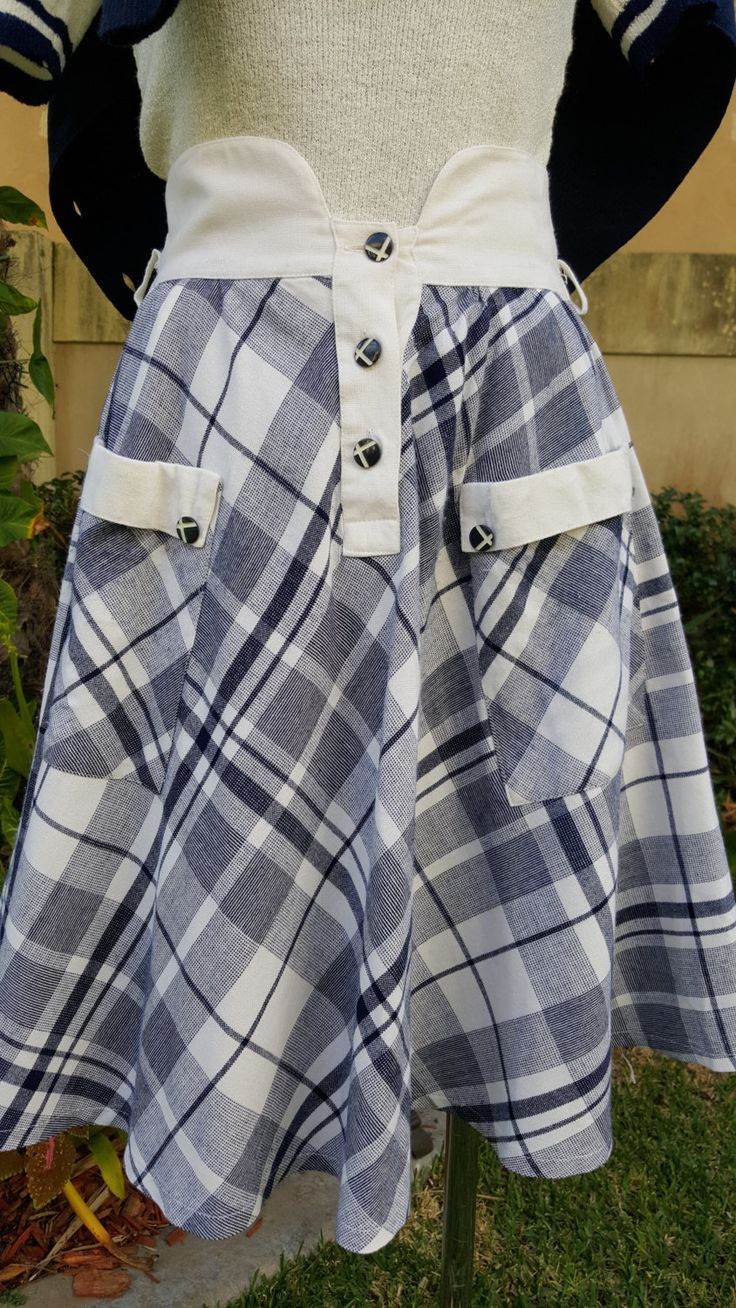 Vintage Italian 70's Blue and White Check Fully lined High Waisted Skirt Size Small 6-8 by PippiLime on Etsy