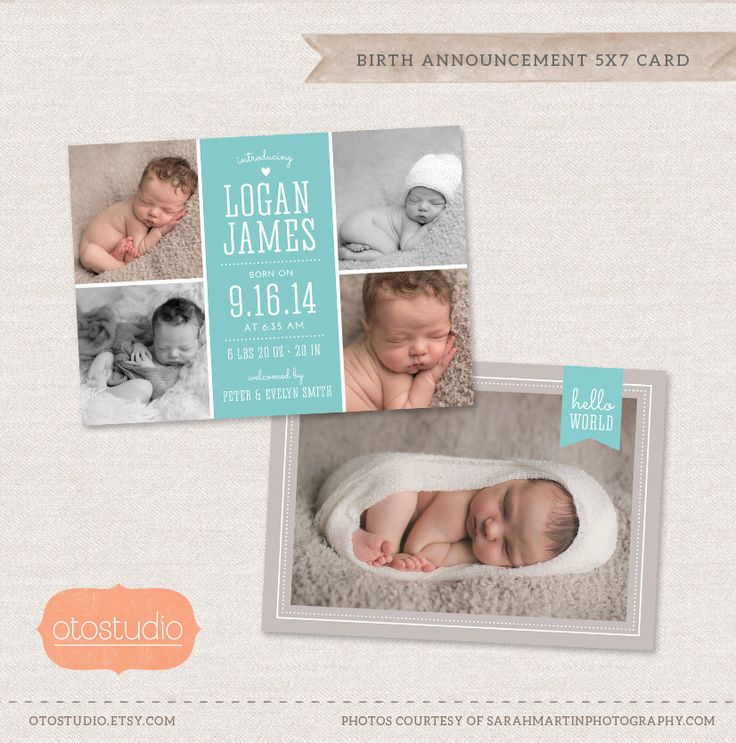Birth Announcement Template Photo Collage -  Elegant Baby CB024 - PSD Flat Card by OtoStudio on Etsy https://www.etsy.com/listing/195537237/birth-announcement-template-photo