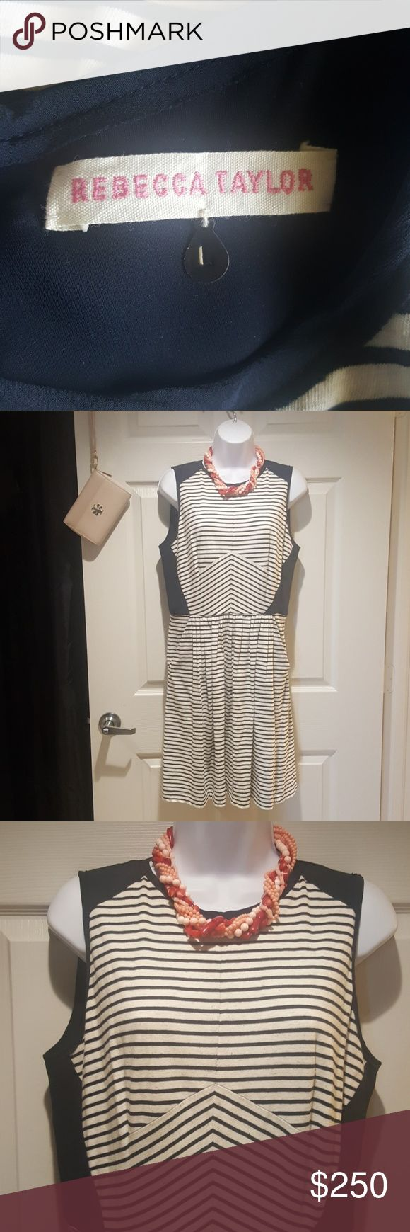 Designer Rebecca Taylor Gently used 1x striped dress to from pockets of old silvertone zipper in the back navy blue and beige nice flowy stretchy any occasion dress mix and match with your wedges or sandals Rebecca Taylor Dresses