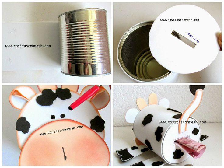 Alcancia de vaquita para niños con lata reciclada | Aprender manualidades es facilisimo.com
