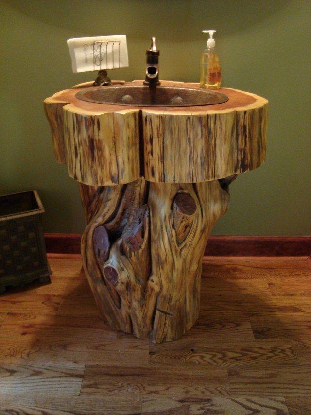meuble salle de bain tronc d'arbre