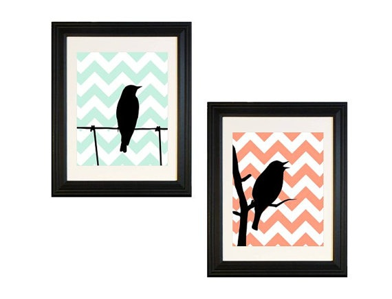 Coral and Aqua Chevron Bird Silhouette Art for the Modern Home