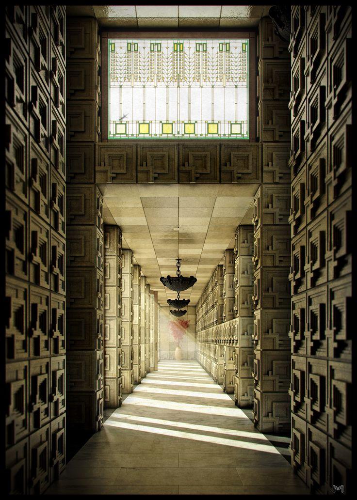 broccoliwolf:  Ennis House Corridor, Frank Lloyd Wright. Hollywood, CA. #LosAngeles
