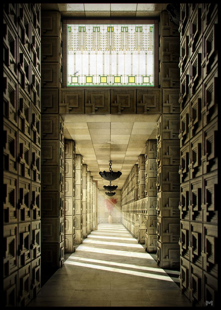luxehotelier:  Ennis House Corridor, Frank Lloyd Wright. Hollywood, CA. #LosAngeles