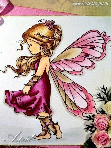 Wee stamps digi Silver Fairy, Coloured with copic Markers: Hair: E25, E31, E50 Skin:E11,E00,E000,E93 Dress: R89, R85, R83,R81 Wings: E43, E42, E41, R32, R30