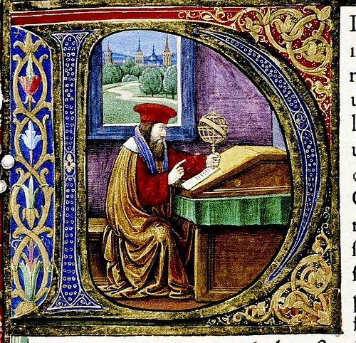 """D"". Pliny seated in study.  Italian. detail. Douce Pliny. 1476 bodl_Douce310"