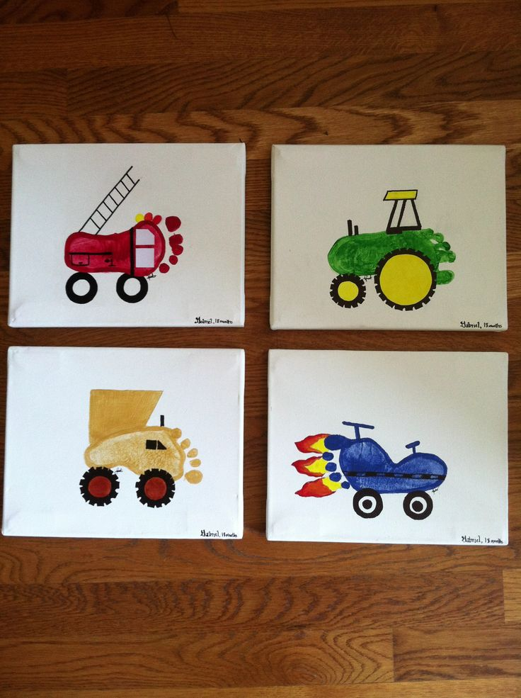 """Just finished this project for Gabe's room!  Notice his footprints?!  I only had to buy the canvas and got two packs of 2  8""""x10"""" canvases for 2 for $8!!  It is going to look great in his """"Planes, Trains, and Automobiles"""" Room!"""