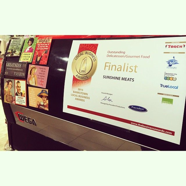Maria has a new sign on the coffee machine!!! We are a finalist again for the Bankstown Local Business Awards!!! Do you think we can #win again?!?!  #winning #award #business #portuguese #cafe #deli #sunshinemeats #gowestgourmet #sydney #westsydney