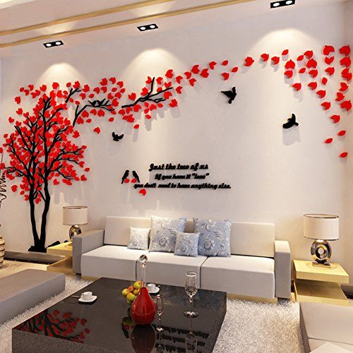 3d Couple Tree Wall Murals for Living Room Bedroom Sofa Backdrop Tv Wall Background, Originality Stickers Gift, DIY Wall Decal Home Decor Art Decorations (X Large, Red)