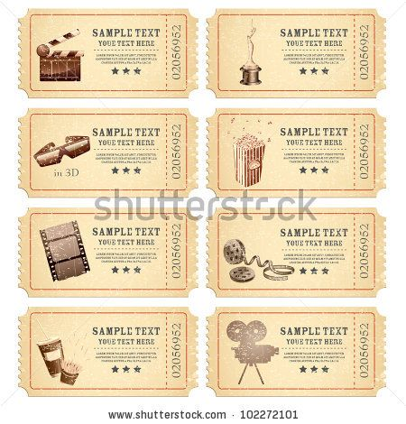Vintage Movie Ticket Vector Set | Free Vector Graphics | All Free Web Resources for Designer - Web Design Hot!