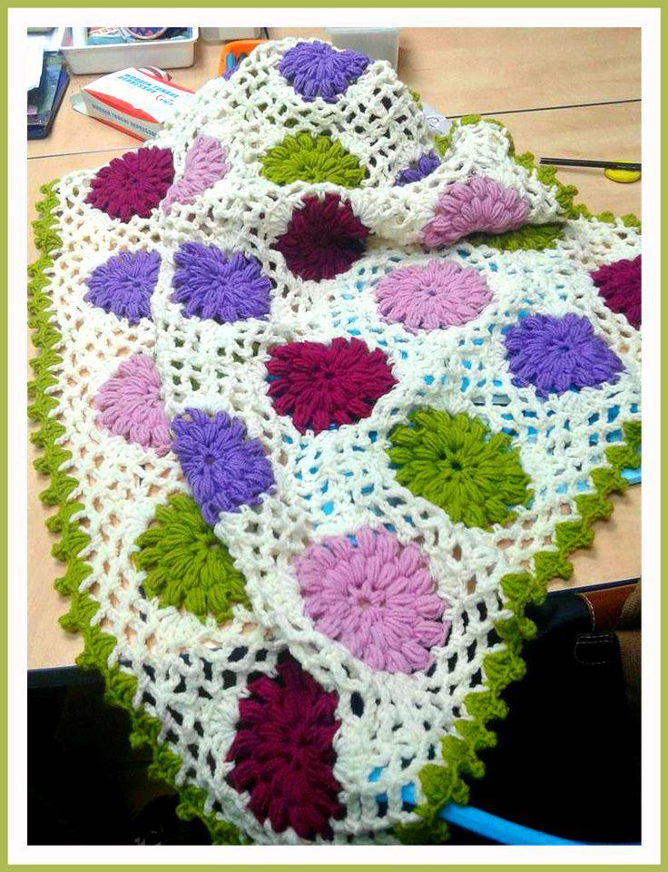 www.babybasket.etsy.com 50%wool -50%acrylic yarn . size for a baby bed.