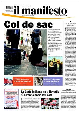 IL MANIFESTO 2013.04.02 - IMMAGINE DELLA PRIMA PAGINA