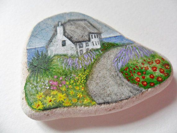 SALE English seaside cottage Original by AlienStoatSeaGlass