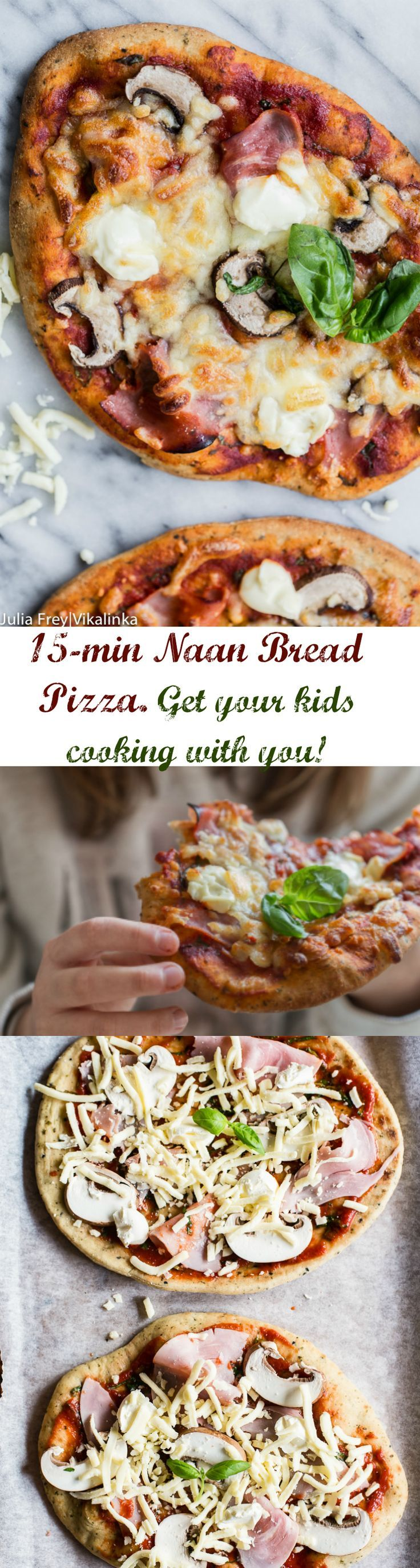 This quick naan bread pizza will soon become the first thing you turn to on Friday night. Top it with ham, mushrooms and mascarpone or any toppings you like!