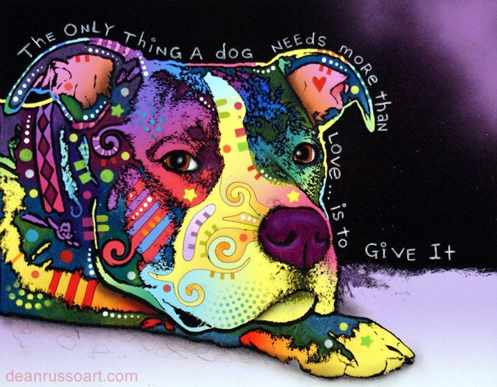 Artist Dean Russo has crafted a sweet rendering of a loving friend for life in this boldly hued print. Capturing an expression that would melt the hardest heart, the Affection print is a tender Pop Art conversation piece
