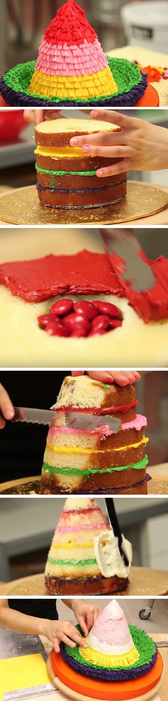 Piñata Sombrero Cake | DIY Cinco de Mayo Party Ideas Food Desserts | Easy Fiesta Party Ideas for Kids Mexican