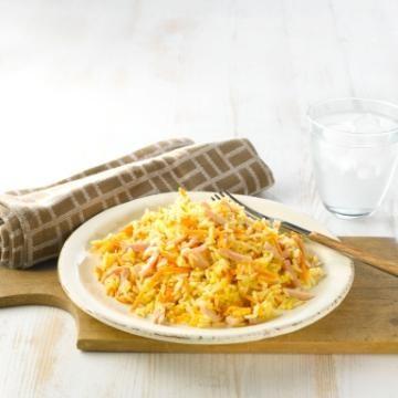 Oppskrift på Stekt ris med skinke og egg