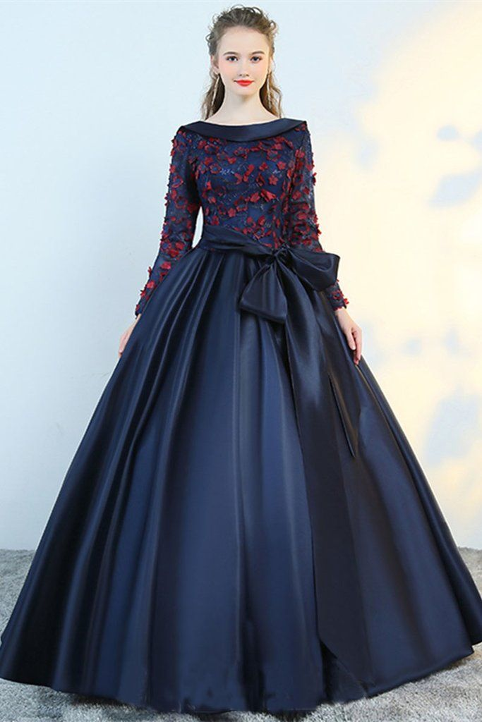 Puffy Flower Applique Floor Length Long Sleeve Satin Party Dress With Bowknot N1223 7