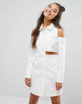 ASOS Denim Deconstructed Shirt Dress in Off White