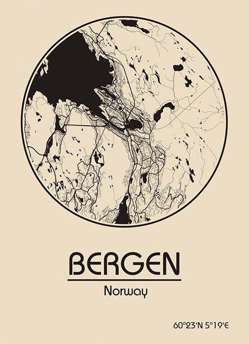 Karte / Map ~ Bergen, Norwegen / Norway