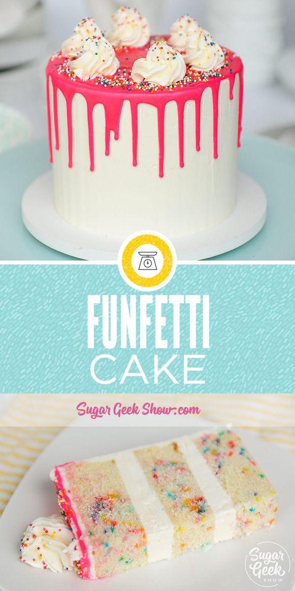 Funfetti-Torte ist eine köstliche Vanille-Torte mit bunten Streuseln …