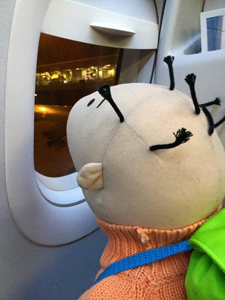 Jules op reis vliegtuig