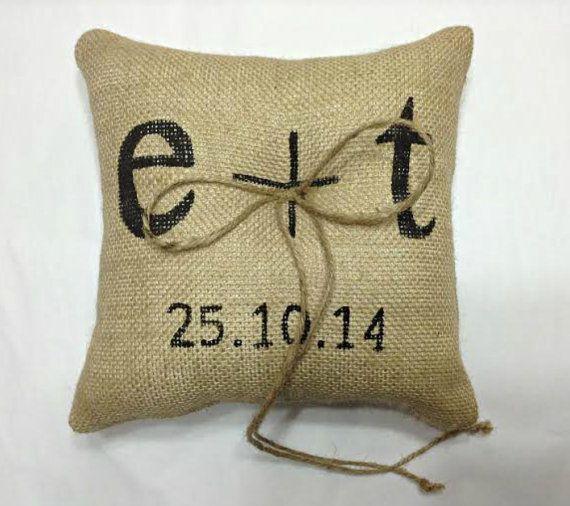PERSONALIZED Burlap Ring Pillow, Ring Bearer Pillow by sherisewsweet www.sherisewsweet.etsy.com sherisewsweet@gmail.com #personalizedringpillow #rusticwedding
