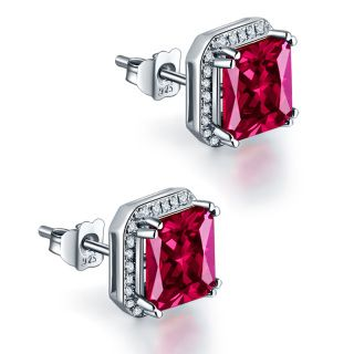 beautifully created ruby studs with zircon  Free Shipping to US.    5- 10 days Buyer protected