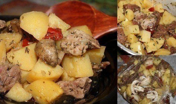 """Мясо с картофелем в рукаве - Свинина  Ингредиенты: - 400-500 гр мяса (у меня свиная шейка) - 6-8 средних картофелин - шампиньоны (количество на ваше усмотрение) - 1 помидор - 1 болгарский перчик (можете добавить фасоль, цветную капусту, на ваш вкус) - 1 большая луковица (репчатый) - 4-5 зубчиков чеснока - 3 ст. ложки соевого соуса - ваши любимые травы (у меня орегано, тимьян, укроп, можно свежие, можно в сухом виде.) - смесь """"Итальянские травы"""" - смесь перцев """"Мельница"""" - соль - """"рукав"""" для…"""