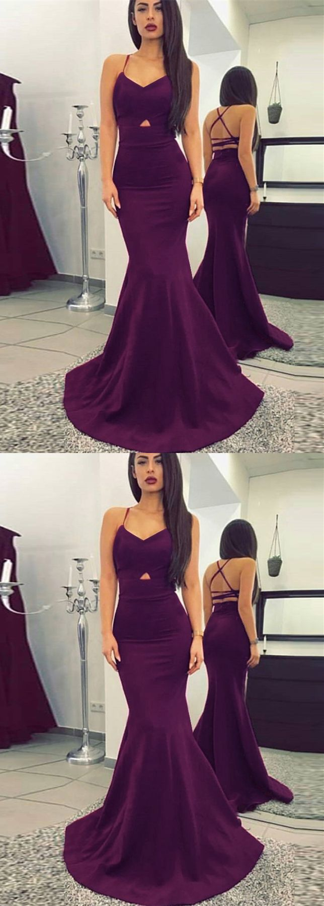 modest purple mermaid prom dresses, simple criss cross straps party dresses, elegant cut out v neck evening gowns #promdress #mermaiddress #prom2018